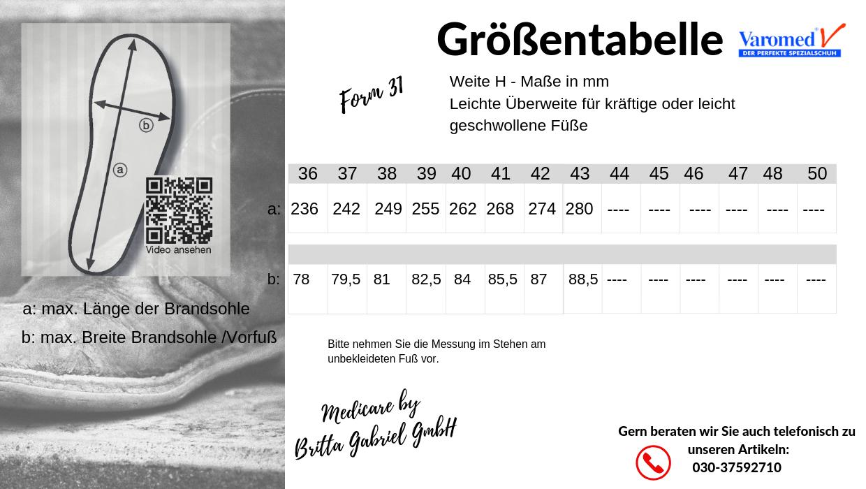 Größentabelle - Varomed Ittenheim Weite H Schurwollfutter