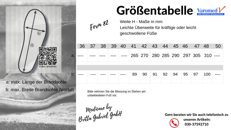 Größentabelle - Varomed Altana Halbschuh in Weite H 82110
